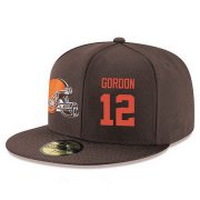 Wholesale Cheap Cleveland Browns #12 Josh Gordon Snapback Cap NFL Player Brown with Orange Number Stitched Hat