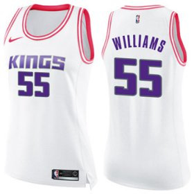Wholesale Cheap Women\'s Sacramento Kings #55 Jason Williams White Pink NBA Swingman Fashion Jersey