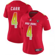 Wholesale Cheap Nike Raiders #4 Derek Carr Red Women's Stitched NFL Limited AFC 2018 Pro Bowl Jersey