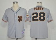Wholesale Giants #28 Buster Posey Grey Cool Base 2012 Road 2 Stitched Baseball Jersey
