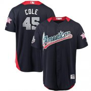 Wholesale Cheap Astros #45 Gerrit Cole Navy Blue 2018 All-Star American League Stitched MLB Jersey