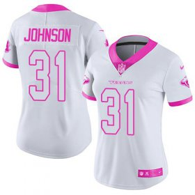 Wholesale Cheap Nike Texans #31 David Johnson White/Pink Women\'s Stitched NFL Limited Rush Fashion Jersey