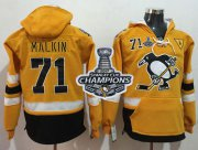 Wholesale Cheap Penguins #71 Evgeni Malkin Gold Sawyer Hooded Sweatshirt 2017 Stadium Series Stanley Cup Finals Champions Stitched NHL Jersey