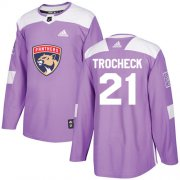 Wholesale Cheap Adidas Panthers #21 Vincent Trocheck Purple Authentic Fights Cancer Stitched Youth NHL Jersey