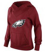Wholesale Cheap Women's Philadelphia Eagles Logo Pullover Hoodie Red-1