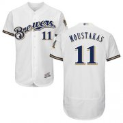 Wholesale Cheap Brewers #11 Mike Moustakas White Flexbase Authentic Collection Stitched MLB Jersey