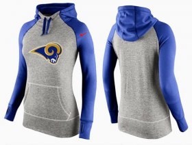 Wholesale Cheap Women\'s Nike Los Angeles Rams Performance Hoodie Grey & Blue_2