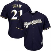 Wholesale Cheap Brewers #21 Travis Shaw Navy blue Cool Base Stitched Youth MLB Jersey