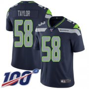 Wholesale Cheap Nike Seahawks #58 Darrell Taylor Steel Blue Team Color Men's Stitched NFL 100th Season Vapor Untouchable Limited Jersey