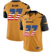 Wholesale Cheap Missouri Tigers 27 Brock Olivo Gold USA Flag Nike College Football Jersey