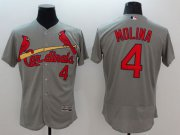 Wholesale Cheap Cardinals #4 Yadier Molina Grey Flexbase Authentic Collection Stitched MLB Jersey