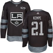 Wholesale Cheap Adidas Kings #21 Mario Kempe Black 1917-2017 100th Anniversary Stitched NHL Jersey