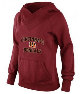Wholesale Cheap Women\'s Cincinnati Bengals Heart & Soul Pullover Hoodie Red