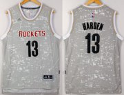 Wholesale Cheap Men's Houston Rockets #13 James Harden Adidas 2015 Gray City Lights Swingman Jersey