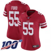 Wholesale Cheap Nike 49ers #55 Dee Ford Red Team Color Women's Stitched NFL 100th Season Vapor Limited Jersey
