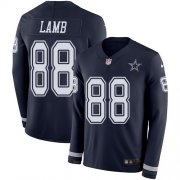 Wholesale Cheap Nike Cowboys #88 CeeDee Lamb Navy Blue Team Color Men's Stitched NFL Limited Therma Long Sleeve Jersey