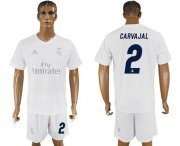 Wholesale Cheap Real Madrid #2 Carvajal Marine Environmental Protection Home Soccer Club Jersey