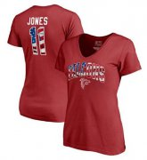 Wholesale Cheap Women's Atlanta Falcons #11 Julio Jones NFL Pro Line by Fanatics Branded Banner Wave Name & Number T-Shirt Red