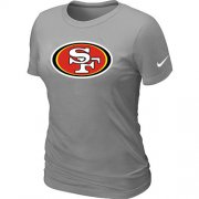 Wholesale Cheap Women's Nike San Francisco 49ers Logo NFL T-Shirt Light Grey
