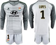 Wholesale Cheap Lyon #1 Lopes Grey Goalkeeper Long Sleeves Soccer Club Jersey