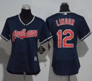 Wholesale Cheap Indians #12 Francisco Lindor Navy Blue Women's Alternate Stitched MLB Jersey