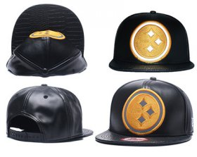 Wholesale Cheap NFL Pittsburgh Steelers Team Logo Black Reflective Adjustable Hat