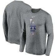 Wholesale Cheap Men's Los Angeles Dodgers Nike Charcoal Authentic Collection Legend Performance Long Sleeve T-Shirt
