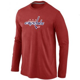 Wholesale Cheap NHL Washington Capitals Big & Tall Logo Long Sleeve T-Shirt Red