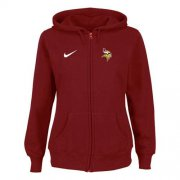 Wholesale Cheap Nike Minnesota Vikings Ladies Tailgater Full Zip Hoodie Red