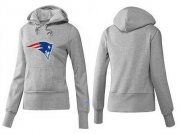Wholesale Cheap Women's New England Patriots Logo Pullover Hoodie Grey