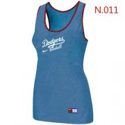 Wholesale Cheap Women's Nike Los Angeles Dodgers Tri-Blend Racerback Stretch Tank Top Light Blue