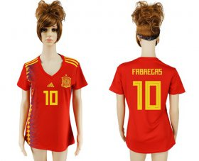 Wholesale Cheap Women\'s Spain #10 Fabregas Red Home Soccer Country Jersey
