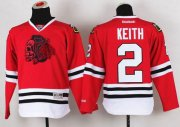 Wholesale Cheap Blackhawks #2 Duncan Keith Red(Red Skull) Stitched Youth NHL Jersey