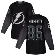Wholesale Cheap Adidas Lightning #86 Nikita Kucherov Black Alternate Authentic Stitched Youth NHL Jersey