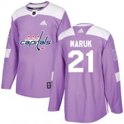 Wholesale Cheap Adidas Capitals #21 Dennis Maruk Purple Authentic Fights Cancer Stitched NHL Jersey