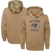 Wholesale Cheap Youth Baltimore Ravens Nike Khaki 2019 Salute to Service Therma Pullover Hoodie