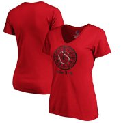 Wholesale Cheap Boston Red Sox vs. New York Yankees Majestic Women's 2019 London Series Dueling Clock V-Neck T-Shirt - Red