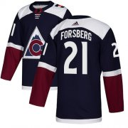 Wholesale Cheap Adidas Avalanche #21 Peter Forsberg Navy Alternate Authentic Stitched NHL Jersey