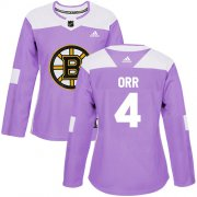 Wholesale Cheap Adidas Bruins #4 Bobby Orr Purple Authentic Fights Cancer Women's Stitched NHL Jersey