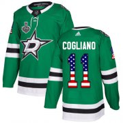 Cheap Adidas Stars #11 Andrew Cogliano Green Home Authentic USA Flag Youth 2020 Stanley Cup Final Stitched NHL Jersey