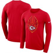Wholesale Cheap Men's Kansas City Chiefs Nike Red Fan Gear Icon Performance Long Sleeve T-Shirt