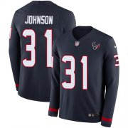 Wholesale Cheap Nike Texans #31 David Johnson Navy Blue Team Color Men's Stitched NFL Limited Therma Long Sleeve Jersey