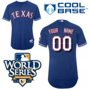 Wholesale Cheap Rangers Customized Authentic Blue Cool Base MLB Jersey w/2010 World Series Patch (S-3XL)