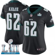 Wholesale Cheap Nike Eagles #62 Jason Kelce Black Alternate Super Bowl LII Women's Stitched NFL Vapor Untouchable Limited Jersey