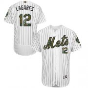 Wholesale Cheap Mets #12 Juan Lagares White(Blue Strip) Flexbase Authentic Collection Memorial Day Stitched MLB Jersey