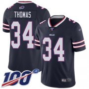 Wholesale Cheap Nike Bills #34 Thurman Thomas Navy Men's Stitched NFL Limited Inverted Legend 100th Season Jersey