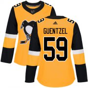 Wholesale Cheap Adidas Penguins #59 Jake Guentzel Gold Alternate Authentic Women's Stitched NHL Jersey