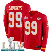 Wholesale Cheap Nike Chiefs #99 Khalen Saunders Red Super Bowl LIV 2020 Team Color Men's Stitched NFL Limited Therma Long Sleeve Jersey