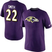 Wholesale Cheap Nike Baltimore Ravens #22 Jimmy Smith Name & Number NFL T-Shirt Purple