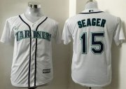 Wholesale Cheap Mariners #15 Kyle Seager White Cool Base Stitched Youth MLB Jersey